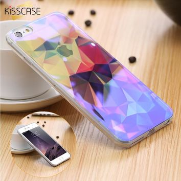KISSCASE For iPhone 7 6 Case Coque Blue Ray Light Clear Transparent Cover Mobile Phone Case For iPhone 6 7 plus Case Capa Fundas