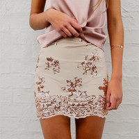 New fall fashion Slim sequined embroidery A word skirt sexy package hip skirts women