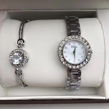 DIOR Fashion Quartz Movement Wristwatch Watch Bracelet Two Piece Set