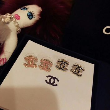 Chanel Stylish Ladies Logo S925 Sterling Silver stud earrings for cartilage