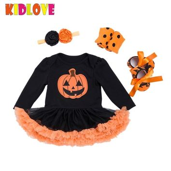 KIDLOVE Halloween Pumpkin Jumpsuits Dress Baby Girls Rompers Costume with Flower Headband Bowknot Shoes leggings 4pcs Set ZK30