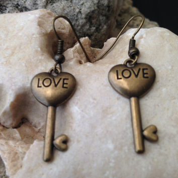 Heart Earrings Gold, Love Earrings, Heart Jewelry, Gifts for Mom, Gold Key Earrings, Heart Key Earrings, Mothers Day Gift