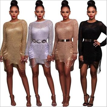 Summer Knitting Sweater Dress 2017 Sexy Holes Hollow Long Sleeve Slim Crochet Knitted Bodycon Bandage Dresses Beach Casual Dress
