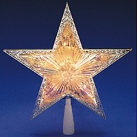 "10"" Lighted Silver Star Christmas Tree Topper - Clear Lights"