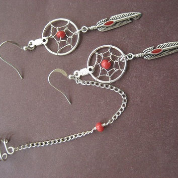Red Beaded Dream Catcher Asymmetrical Cartilage Chain and Ear Cuff Dreamcatcher Earring Set