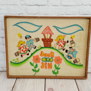 Vintage Framed Jack and Jill Embroidery Needlepoint Crewel Nursery Rhyme