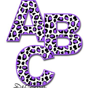 PURPLE LEOPARD ANIMAL Print Alphabet Letter Wall Decals Teen Girls Room Baby Nursery Kids Cheetah Spots Decor Personalized Name Art Stickers
