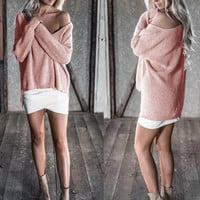 Sexy Off Shoulder Long Batwing Sleeve Warm Casual Knitted Pullovers Sweaters