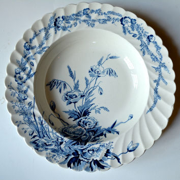 Clarice Cliff Blue and White Transferware Shallow Soup Salad Bowl Harvest Poppies