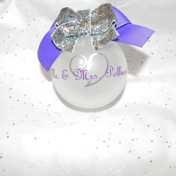 Mr & Mrs Personalized Wedding Frosted Ornament
