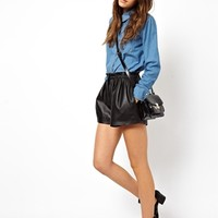 ASOS Leather Shorts with High Waist Detail - Black
