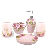 HQdeal 5PC Set Acrylic Bathroom Accessories Bathroom Set Flowers Bloom Acrylic Bath Set Soap Dispenser/Toothbrush Holder/Tumbler/Soap Dish