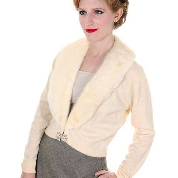 Vintage Ladies Pringle Cashmere Sweater w/ Mink Collar Cream 1950s