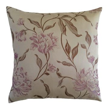 "Satin Mum Flower/Floral Pattern 18""x18"" Cream/Pink Pillow Case/Cushion Cover"