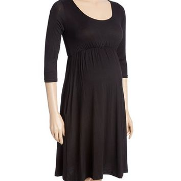 Black Ruffle-Sleeve Maternity Empire-Waist Dress