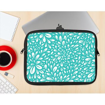 The Teal and White Floral Sprout Ink-Fuzed NeoPrene MacBook Laptop Sleeve
