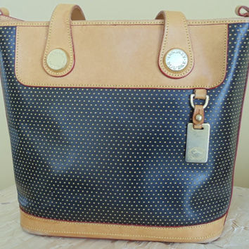 Vintage Dooney & Bourke Perforated Black Leather, Trimmed in Tan Leather Bucket Style Purse