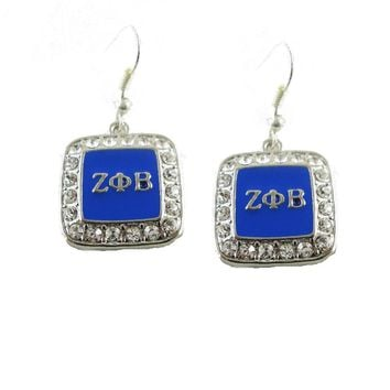 ZETA PHI BETA  Sorority   earrings Crystal Letters Earrings for Zeta Phi Beta 1pair  free shipping