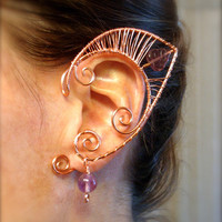 Pair of Beautiful Copper Faerie Ears with glass leaf accents and Flourite 8mm beads, Elf Ear Cuffs, Fairy, Renaissance, Elven