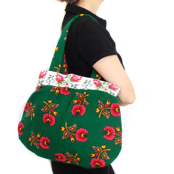 Floral Hobo Bag, Hobo Slouch Purse, Hobo Bag Purse, Floral Tote Bag, Hobo Tote Bag, Green Floral Tote, Earthy Colors Hobo Bag, Shoulder Bag