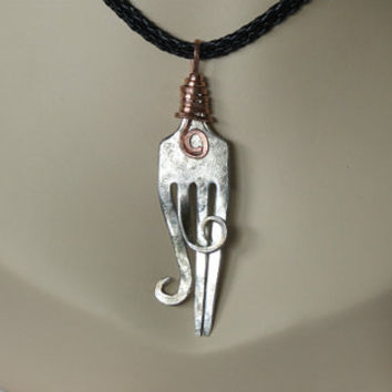 Primitive Recycled Fork Pendant on Leather Necklace Jewelry Unisex Gift