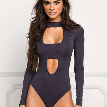 Charcoal Double Cut Out Jersey Knit Bodysuit