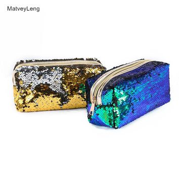 New Zipper Cosmetic Bag Fashion Mermaid Double-sided Color Sequins Cosmetic Bag Ms. Cosmetic Storage Bag Travel Cosmetic Bag