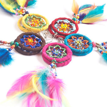 Dream Catcher Earrings ~ Top Selling Summer 2015 Earrings ~ Colorful Long Dangle Bohemian Earrings ~ Feather Earrings ~ Hippie ~ Boho Chic