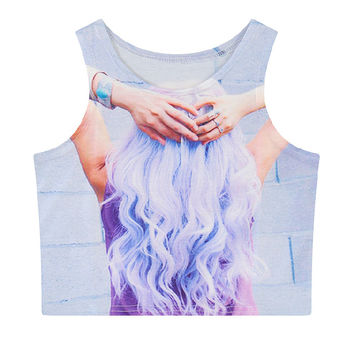 Girl with Purple Hair Printed Crop Top CT-126