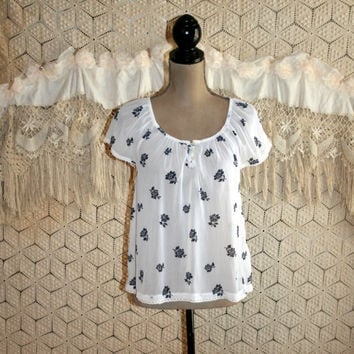 Chiffon Peasant Top Sheer White Blouse Cap Sleeves Blue Floral Print Loose Fitting Scoop Neck Boho Summer Tops Small Medium Womens Clothing