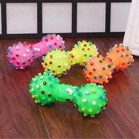 1PCS Pet Products Small Dog Toys For Puppy Rubber Dogs Toys Pets Sound Squeaky Dumbbell Chewing Toy Squeaker For Toys Dog Games