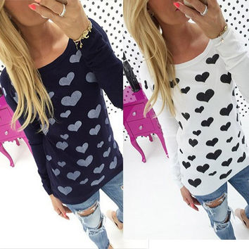 Women Long Sleeve T shirt Fashion 2016 Love Heart Printed T-shirt Back Zipper Tops Cheap Women Clothing