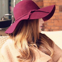 Hot Sale Vintage Soft Women Wide Brim Wool Felt Bowler Fedora Hat Floppy Cloche = 1958019844