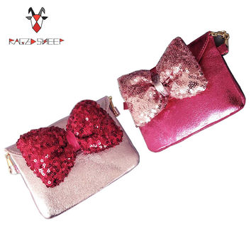 Raged Sheep Lovely Children one shoulder bag Bow coin purse cute Sequins girls messenger bag baby accessories