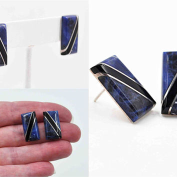 ON SALE Vintage Taxco Sterling Silver, Sodalite & Onyx Pierced Earrings, Mexico, Blue, Black, Rectangular, Diagonal, Inlay, Lovely! #b856