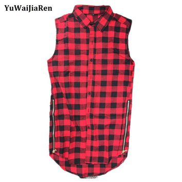 YuWaiJiaRen Tyga L K Hip hop gold side zipper oversized plaid flannel shirt tee men casual red plaid tartan last king Tee shirt