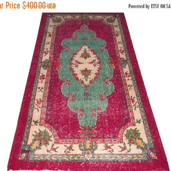 "ON SALE Green Medallion Turkish Vintage Rug  7'5'' x 3'10""   Free Shipping"
