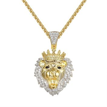 Silver Lion Head Face Canary Crown Pendant Chain