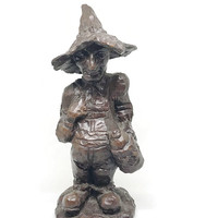 Red Mill Hillbilly / Crushed Pecan Shell Sculptures / Hillbilly Figurine / Stamped and Original Label -Gift for the Collector