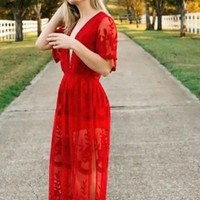 Gemma Red Lace Maxi Dress