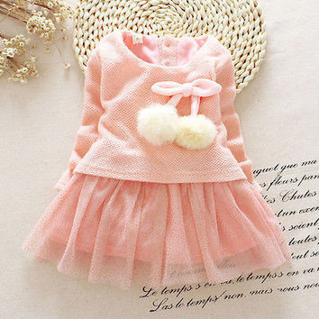 Cute Toddler Baby Girls Party Dress Knit Sweater Tulle Bow Tutu Dresses Clothes
