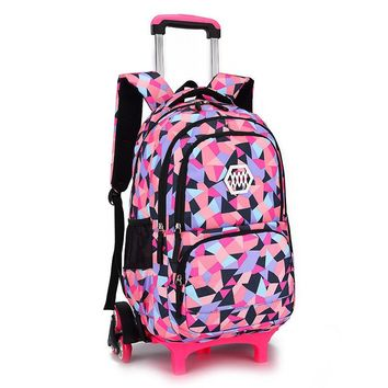 Hot Sales Removable Children School Bags with 2/3 Wheels for Girls Trolley Backpack Kids Wheeled Bag Bookbag travel luggage