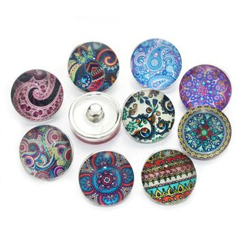 10pcs/lot Random Mix Colors Exotic Bohemia Snap Buttons Beads 18mm Glass Fit Snap Bracelets&Bangles Jewelry For Women 8557