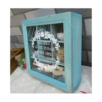 Zakka Retro Vintage 9 Cabinets Jewelry Storage Wooden Box Clear Cover   Blue petal