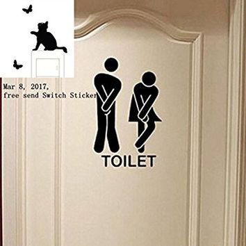 Removable Cute Man Woman Washroom Toilet WC Wall Sticker Family DIY Decor Art Stickers Home Decor Wall Art For Kids Living Room Bedroom Bathroom Office Home Decoration