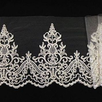 By The Yard, Alencon Bridal Mesh Lace Trim, Beaded, Corded and Sequined, EXCELLENT QUALITY, 9""