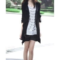 Graceful Lapel Puff Sleeve Solid Color Coat For Women