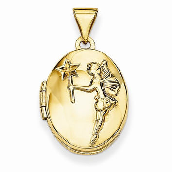 14k Yellow Gold Oval Fairy Wishes Locket