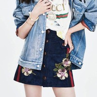 Gucci Women Fashion All-match Chamois Suede Flowers Embroidery Show Thin A Word High Waist Short Skirt