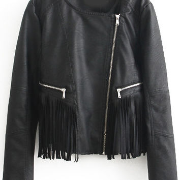 Black Zip Fringed Leather Cropped Jacket
